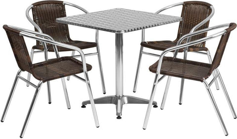 Flash Furniture TLH-ALUM-28SQ-020CHR4-GG 27.5'' Square Aluminum Indoor-Outdoor Table with 4 Rattan Chairs - Peazz Furniture