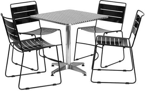 Flash Furniture TLH-ALUM-28SQ-HA1BK4-GG 27.5'' Square Aluminum Indoor-Outdoor Table with 4 Black Metal Stack Chairs - Peazz Furniture