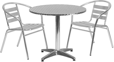 Flash Furniture TLH-ALUM-32RD-017BCHR2-GG 31.5'' Round Aluminum Indoor-Outdoor Table with 2 Slat Back Chairs - Peazz Furniture