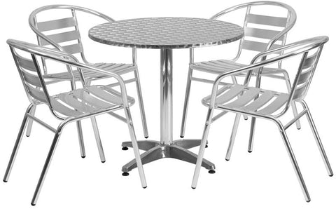 Flash Furniture TLH-ALUM-32RD-017BCHR4-GG 31.5'' Round Aluminum Indoor-Outdoor Table with 4 Slat Back Chairs - Peazz Furniture