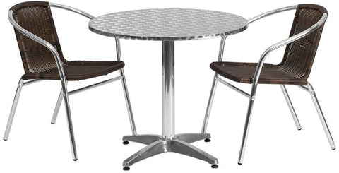 Flash Furniture TLH-ALUM-32RD-020CHR2-GG 31.5'' Round Aluminum Indoor-Outdoor Table with 2 Rattan Chairs - Peazz Furniture