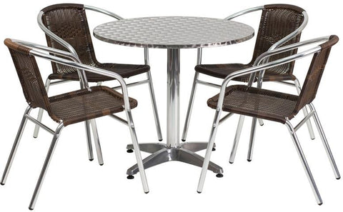 Flash Furniture TLH-ALUM-32RD-020CHR4-GG 31.5'' Round Aluminum Indoor-Outdoor Table with 4 Rattan Chairs - Peazz Furniture
