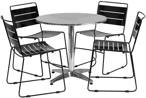Flash Furniture TLH-ALUM-32RD-HA1BK4-GG 31.5'' Round Aluminum Indoor-Outdoor Table with 4 Black Metal Stack Chairs - Peazz Furniture