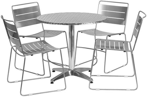 Flash Furniture TLH-ALUM-32RD-HA1SIL4-GG 31.5'' Round Aluminum Indoor-Outdoor Table with 4 Silver Metal Stack Chairs - Peazz Furniture