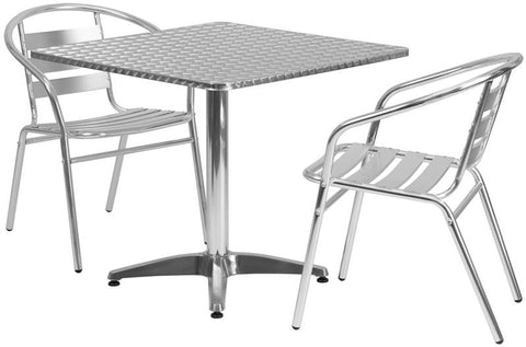 Flash Furniture TLH-ALUM-32SQ-017BCHR2-GG 31.5'' Square Aluminum Indoor-Outdoor Table with 2 Slat Back Chairs - Peazz Furniture