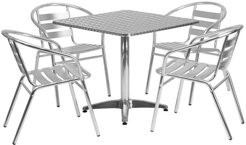 Flash Furniture TLH-ALUM-32SQ-017BCHR4-GG 31.5'' Square Aluminum Indoor-Outdoor Table with 4 Slat Back Chairs - Peazz Furniture