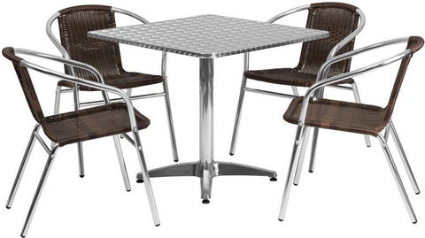 Flash Furniture TLH-ALUM-32SQ-020CHR4-GG 31.5'' Square Aluminum Indoor-Outdoor Table with 4 Rattan Chairs - Peazz Furniture