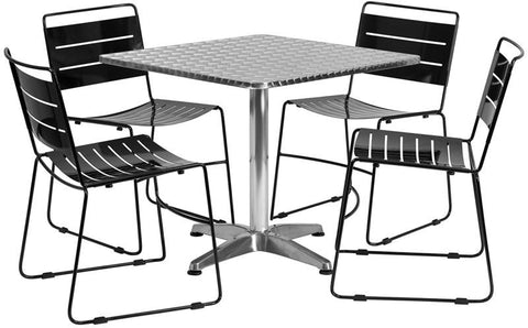 Flash Furniture TLH-ALUM-32SQ-HA1BK4-GG 31.5'' Square Aluminum Indoor-Outdoor Table with 4 Black Metal Stack Chairs - Peazz Furniture