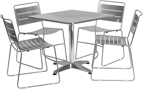 Flash Furniture TLH-ALUM-32SQ-HA1SIL4-GG 31.5'' Square Aluminum Indoor-Outdoor Table with 4 Silver Metal Stack Chairs - Peazz Furniture