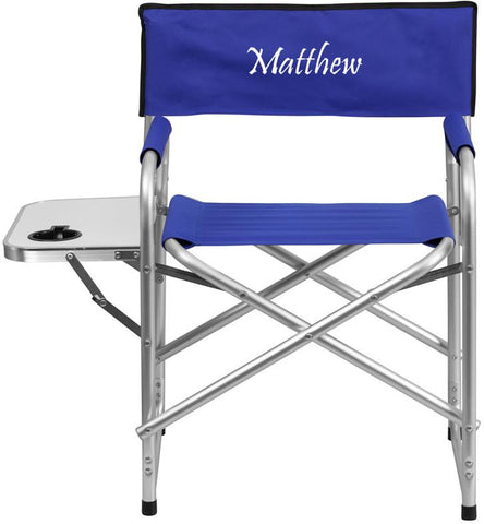 Flash Furniture TY1104-BL-EMB-GG Embroidered Aluminum Folding Camping Chair with Table and Drink Holder in Blue - Peazz Furniture