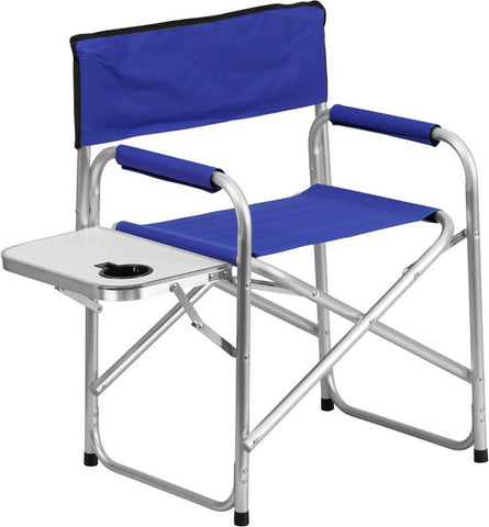 Flash Furniture TY1104-BL-GG Aluminum Folding Camping Chair with Table and Drink Holder in Blue - Peazz Furniture
