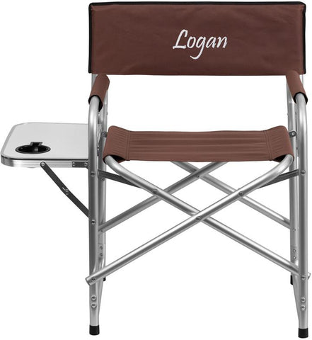 Flash Furniture TY1104-BN-TXTEMB-GG Personalized Aluminum Folding Camping Chair with Table and Drink Holder in Brown - Peazz Furniture