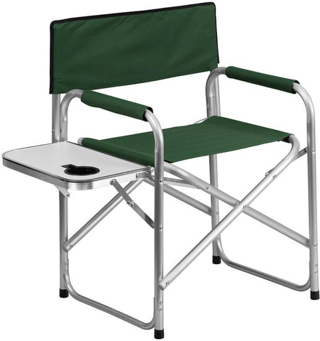 Flash Furniture TY1104-GN-GG Aluminum Folding Camping Chair with Table and Drink Holder in Green - Peazz Furniture