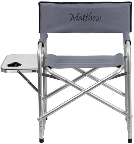 Flash Furniture TY1104-GY-EMB-GG Embroidered Aluminum Folding Camping Chair with Table and Drink Holder in Gray - Peazz Furniture