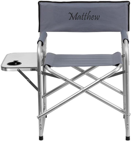 Flash Furniture TY1104-GY-TXTEMB-GG Personalized Aluminum Folding Camping Chair with Table and Drink Holder in Gray - Peazz Furniture