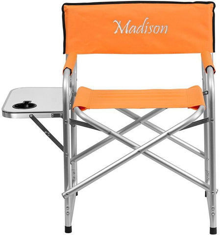 Flash Furniture TY1104-OR-EMB-GG Embroidered Aluminum Folding Camping Chair with Table and Drink Holder in Orange - Peazz Furniture