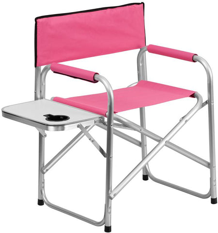 Flash Furniture TY1104-PK-GG Aluminum Folding Camping Chair with Table and Drink Holder in Pink - Peazz Furniture