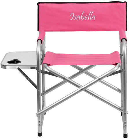 Flash Furniture TY1104-PK-TXTEMB-GG Personalized Aluminum Folding Camping Chair with Table and Drink Holder in Pink - Peazz Furniture