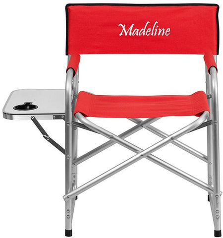 Flash Furniture TY1104-RED-EMB-GG Embroidered Aluminum Folding Camping Chair with Table and Drink Holder in Red - Peazz Furniture