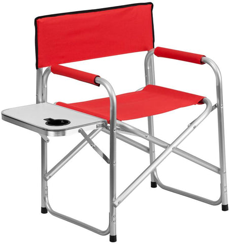 Flash Furniture TY1104-RED-GG Aluminum Folding Camping Chair with Table and Drink Holder in Red - Peazz Furniture
