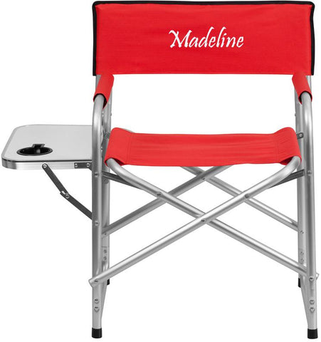 Flash Furniture TY1104-RED-TXTEMB-GG Personalized Aluminum Folding Camping Chair with Table and Drink Holder in Red - Peazz Furniture