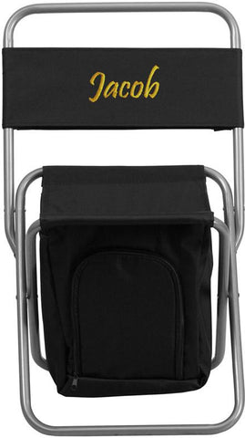 Flash Furniture TY1262-BK-TXTEMB-GG Personalized Kids Folding Camping Chair with Insulated Storage in Black - Peazz Furniture