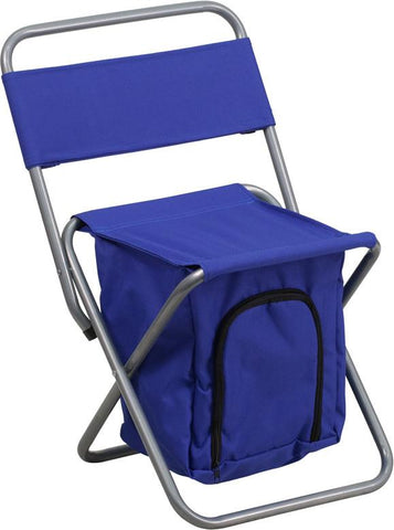 Flash Furniture TY1262-BL-GG Kids Folding Camping Chair with Insulated Storage in Blue - Peazz Furniture