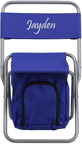 Flash Furniture TY1262-BL-TXTEMB-GG Personalized Kids Folding Camping Chair with Insulated Storage in Blue - Peazz Furniture