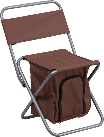 Flash Furniture TY1262-BN-GG Kids Folding Camping Chair with Insulated Storage in Brown - Peazz Furniture
