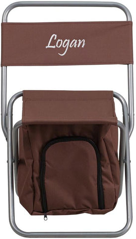 Flash Furniture TY1262-BN-TXTEMB-GG Personalized Kids Folding Camping Chair with Insulated Storage in Brown - Peazz Furniture