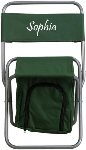 Flash Furniture TY1262-GN-TXTEMB-GG Personalized Kids Folding Camping Chair with Insulated Storage in Green - Peazz Furniture