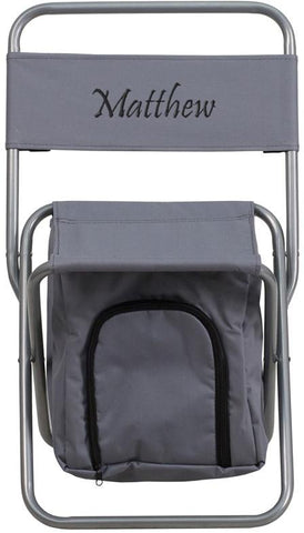 Flash Furniture TY1262-GY-TXTEMB-GG Personalized Kids Folding Camping Chair with Insulated Storage in Gray - Peazz Furniture