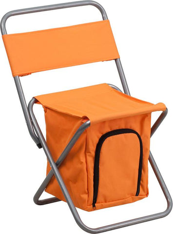 Flash Furniture TY1262-OR-GG Kids Folding Camping Chair with Insulated Storage in Orange - Peazz Furniture