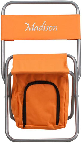 Flash Furniture TY1262-OR-TXTEMB-GG Personalized Kids Folding Camping Chair with Insulated Storage in Orange - Peazz Furniture