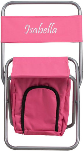 Flash Furniture TY1262-PK-TXTEMB-GG Personalized Kids Folding Camping Chair with Insulated Storage in Pink - Peazz Furniture