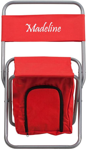 Flash Furniture TY1262-RED-EMB-GG Embroidered Kids Folding Camping Chair with Insulated Storage in Red - Peazz Furniture