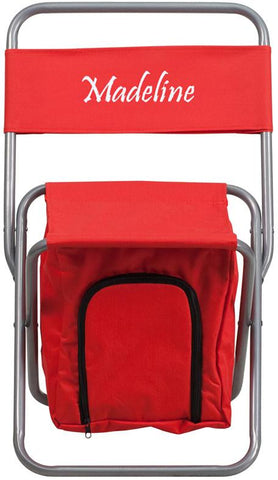 Flash Furniture TY1262-RED-TXTEMB-GG Personalized Kids Folding Camping Chair with Insulated Storage in Red - Peazz Furniture