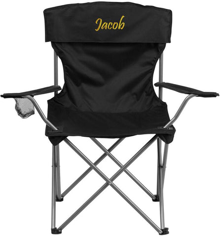 Flash Furniture TY1410-BK-EMB-GG Embroidered Folding Camping Chair with Drink Holder in Black - Peazz Furniture