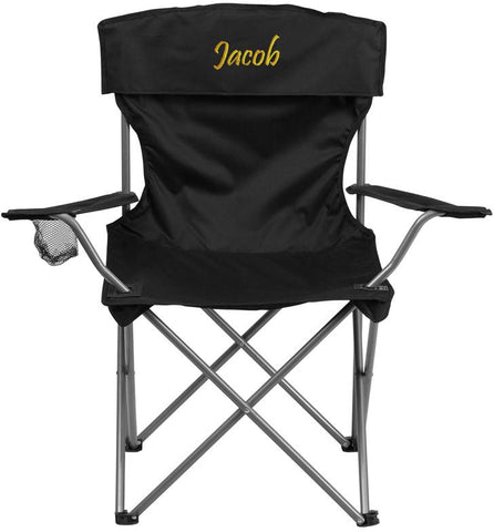 Flash Furniture TY1410-BK-TXTEMB-GG Personalized Folding Camping Chair with Drink Holder in Black - Peazz Furniture