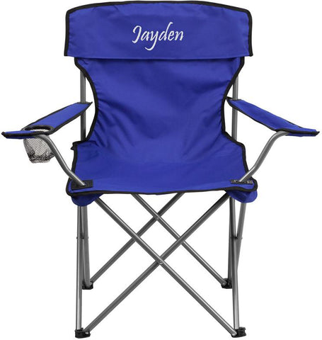 Flash Furniture TY1410-BL-EMB-GG Embroidered Folding Camping Chair with Drink Holder in Blue - Peazz Furniture