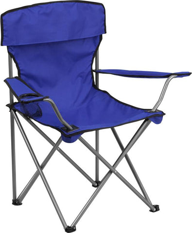 Flash Furniture TY1410-BL-GG Folding Camping Chair with Drink Holder in Blue - Peazz Furniture