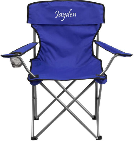 Flash Furniture TY1410-BL-TXTEMB-GG Personalized Folding Camping Chair with Drink Holder in Blue - Peazz Furniture