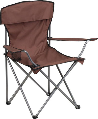Flash Furniture TY1410-BN-GG Folding Camping Chair with Drink Holder in Brown - Peazz Furniture