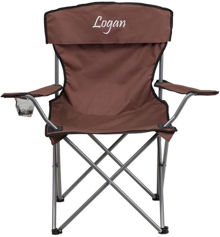 Flash Furniture TY1410-BN-TXTEMB-GG Personalized Folding Camping Chair with Drink Holder in Brown - Peazz Furniture