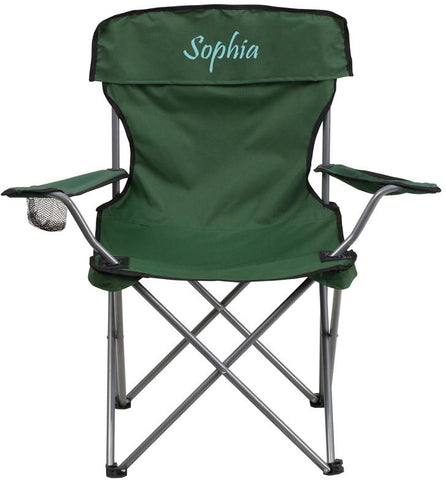 Flash Furniture TY1410-GN-EMB-GG Embroidered Folding Camping Chair with Drink Holder in Green - Peazz Furniture