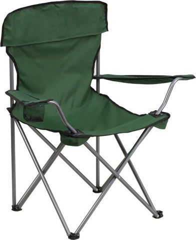 Flash Furniture TY1410-GN-GG Folding Camping Chair with Drink Holder in Green - Peazz Furniture