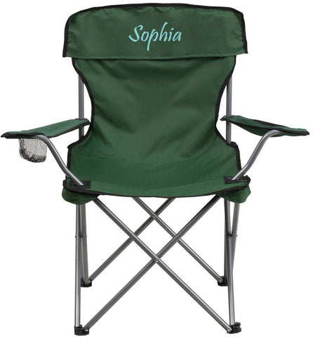 Flash Furniture TY1410-GN-TXTEMB-GG Personalized Folding Camping Chair with Drink Holder in Green - Peazz Furniture