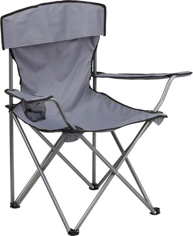 Flash Furniture TY1410-GY-GG Folding Camping Chair with Drink Holder in Gray - Peazz Furniture