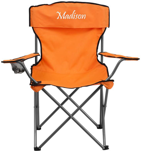 Flash Furniture TY1410-OR-EMB-GG Embroidered Folding Camping Chair with Drink Holder in Orange - Peazz Furniture
