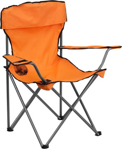 Flash Furniture TY1410-OR-GG Folding Camping Chair with Drink Holder in Orange - Peazz Furniture
